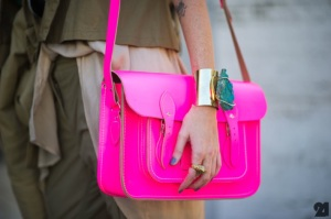 Brighten up neutrals with a neon accessory.