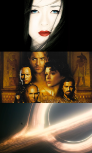 Promotional material for 'Memoirs Of A Geisha,' 'The Mummy Returns' & 'Interstellar.'