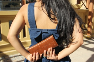 Attempting to hide my wallet; from myself ;) Photography by Tahmeed Omar. Top by Pr. Price. Wallet by Carolina Herrera.